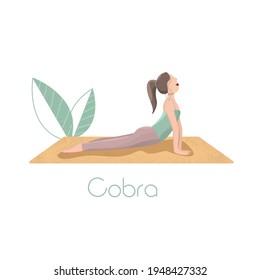 Yoga asana. Cobra pose, sport, fitness, healhy exercises. Vector illustration