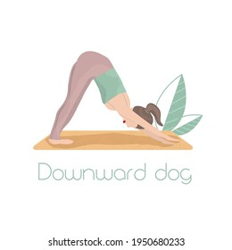 Yoga asana Downward dog. Vector illustration. Posa yoga. Green leaves