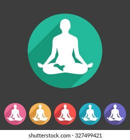 Yoga asana icon flat web sign symbol logo label