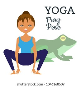 Yoga. Asana is the pose of a frog. A graphic illustration of the exercise. The girl and the frog. Vector