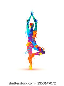 Yoga asana vrikshasana. Tree pose. Silhouette of watercolor splash paint