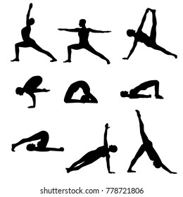 Yoga asanas black silhouettes positions isolated on a white background