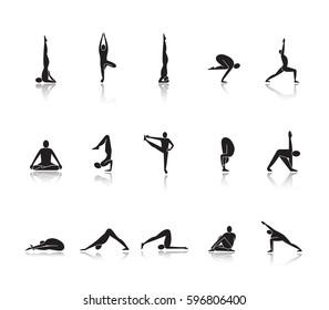 Yoga asanas drop shadow black icons set. Sarvangasana, halasana, bakasana, uttanasana, siddhasana, vrikshasana, vrishchikasana yoga positions. Isolated vector illustrations