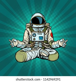 yoga astronaut Lotus pose. Meditation and spiritual practice. Pop art retro vector illustration kitsch vintage
