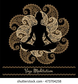 Yoga background with ornamental mandala and meditation person silhouette. Vector illustration