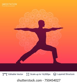 Yoga background vector template. Silhouette of practicing person in asana position and Mandala backdrop.