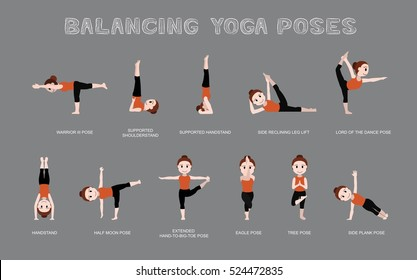 Yoga Balancing Poses Vector Illustration