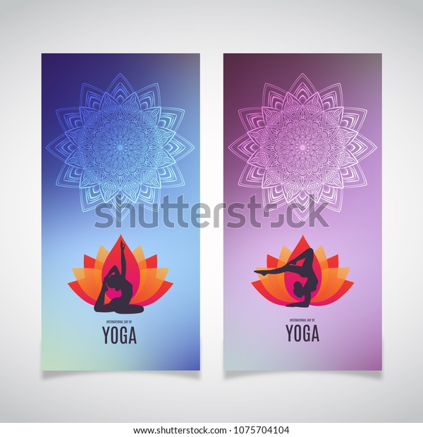 Yoga Banner Collection Ethnic Ornament Human Stock Vector Royalty Free 1075704104