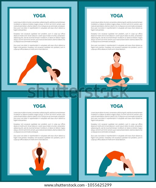 Yoga Banners Set Text Sample Frames Stock Vector Royalty Free 1055625299
