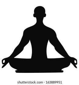 yoga, black silhouette, vector icon