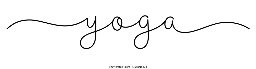 YOGA black vector monoline calligraphy banner with swashes