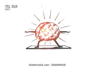 Yoga brain concept. Hand drawn yoga exercises for relaxing. Meditation for feel peace of mind and rest isolated vector illustration.