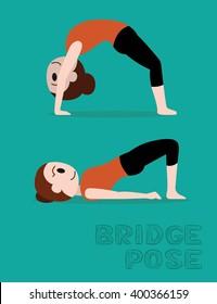 Yoga Bridge Pose Cartoon Vector Illustration