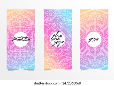 Yoga bright background. Template with mandala in bright color for banners, sites of spiritual development, posters. Set of 3 leaflets with gradient mandalas and hand brush lettering