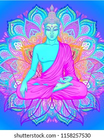 Yoga card, flyer, poster, mat design. Colorful template for spiritual retreat or yoga studio. Ornamental business cards, oriental pattern. Vector illustration