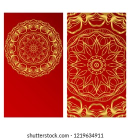 Yoga card template with mandala pattern. For business card, fitness center, meditation class. Vector illustration