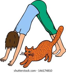 Yoga with cat. hand drawn illustration.