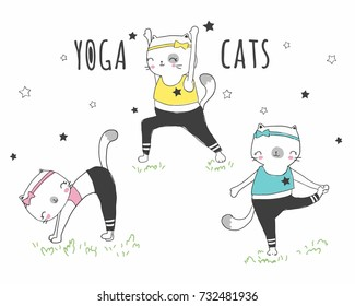 Yoga Cats illustration for apparel or other uses,in vector.