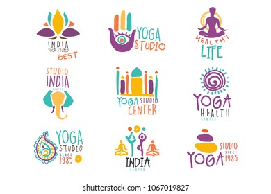 Yoga Center Set Of Colorful Promo Sign Design Templates With Different Indian Spiritual Symbols For Fitness Studio
