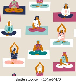 Yoga class with people meditating and doing breathing exercise seamless pattern in vector.