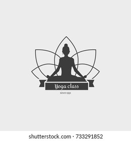 Yoga Class Symbol. Design logo with a girl sitting in lotus position. This badge template can be used for social network and web advertising or brand promotion.