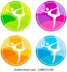 Yoga colored collection vector illustration 3