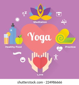 Yoga concept flat illustrations set. Isolated and modern vector design element
