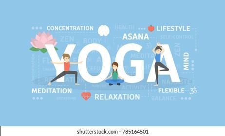 Yoga concept illustration. Idea of asana, india and health.