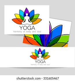 Yoga concept. Vector template logo and corporate identity. Spa, relaxation, meditation, studio, massage and others.