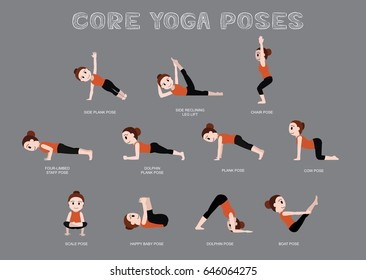 Yoga Core Poses Vector Illustration