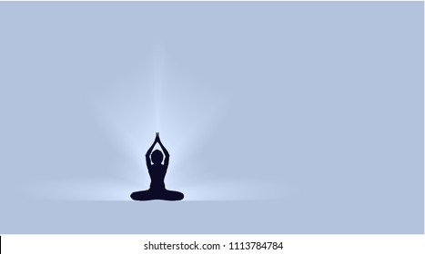 Yoga Day banner with Dark Yogi on beautiful gradient  blue background vector design parvastasna pose lotus