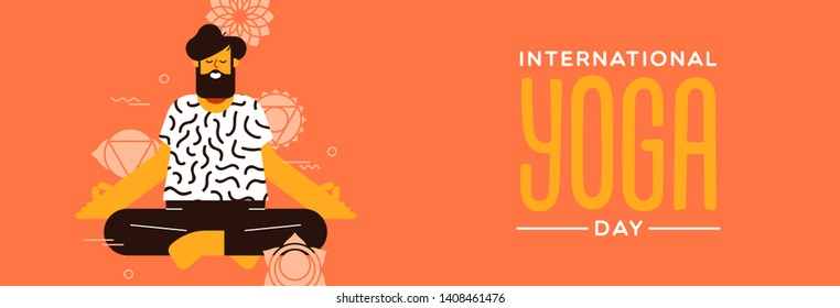 Yoga Day banner of man doing lotus pose exercise in modern flat cartoon style.