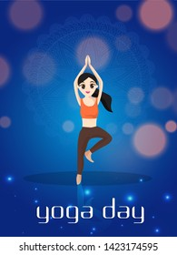 Yoga Day Celebration poster or flyer design with cartoon character of a girl in Vrikshasana pose.