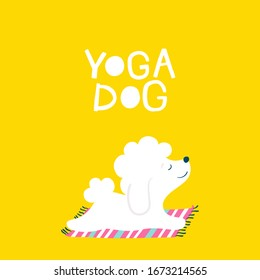 Yoga dog Friendly card with a slogan. Vector illustration of a white animal on a bright yellow background in simple cartoon hand-drawn style. A limited colorful palette ideal for printing baby design