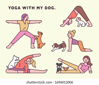 yoga with dog. funny moment. flat design style minimal vector illustration.