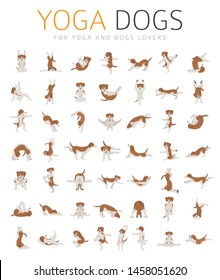 Yoga dogs poses and exercises doing clipart. Funny cartoon poster seamless pattern design. Vector illustration