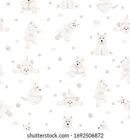 Yoga dogs poses and exercises seamless pattern design. West Highland White Terrier clipart. Vector illustration