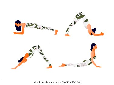Yoga Downward and upward facing dog Woman health. Yoga asanas. Exercises for mom to strengthen arms and backs muscles. Vector cartoon illustration.