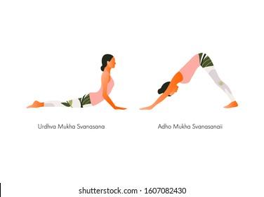 Yoga Downward and upward facing dog Woman health. Adho Mukha Svanasana. Yoga asanas. Vector cartoon illustration.