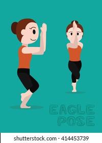 Yoga Eagle Pose Cartoon Vector Illustration