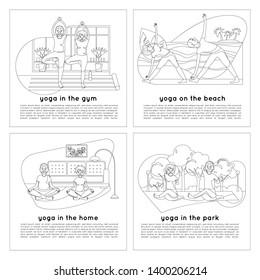 Yoga for the elderly at sea, in the park, in the gym and at home. Sukhasana. Trikonasana. Gomukhasana. Vrikshasana. Line template with sport grandparents and text for yoga studio.
