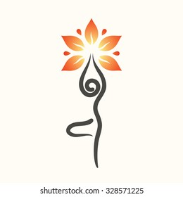 Yoga emblem with abstract tree pose isolated on white background.