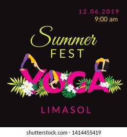 Yoga Event design template. Word Yoga with floral decoration and asanas on white background. Fitnes summer festival poster. Banner, flyer, card design. - Vector