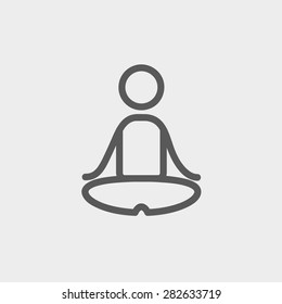Yoga exercise icon thin line for web and mobile, modern minimalistic flat design. Vector dark grey icon on light grey background.