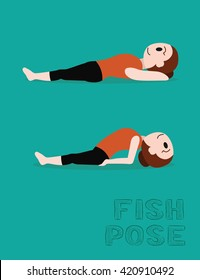 Yoga Fish Pose Cartoon Vector Illustration