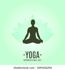 Yoga Fitness Concept. Silhouette of woman doing asana for International Yoga Day on 21st June. Lotos. Vector illustration