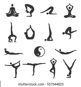Yoga Fitness Icons. Set of black Icons of different yoga positions. Vector available.