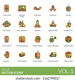 Yoga flat vector icons. Apps, online, mat, namaste, aroma, hot, retreat, buddha, meditation, ginger tea, pants, schedule, mindfulness, teacher, enneagram, tantra, block, towel, bolster, strap.