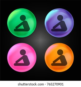 Yoga frontal flexion posture silhouette of side view crystal ball design icon in green - blue - pink and orange.