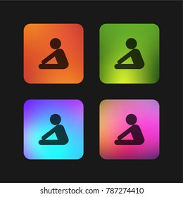 Yoga frontal flexion posture silhouette of side view four color gradient app icon design